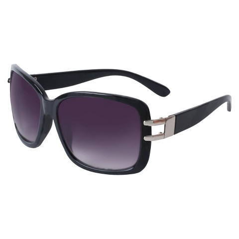 Plastic Rectangle Sunglasses with Open Hinge - Black