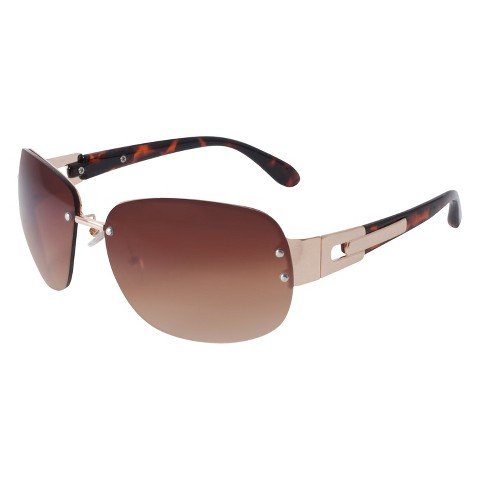 Rimless Round Sunglasses with Metal Detail - Gold