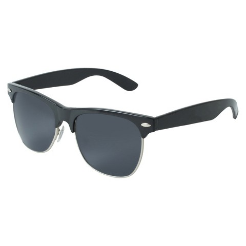Retro Frame Large Sunglasses - Black