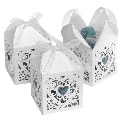 White Square Die-Cut Favor Boxes - 25ct