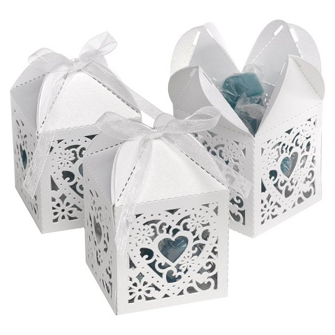 Square Heart Die Cut Wedding Favor Box (25 count) - White