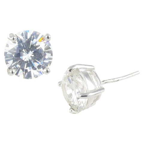 Sterling Silver Cubic Zirconia Stud Earrings Round - Clear/Silver