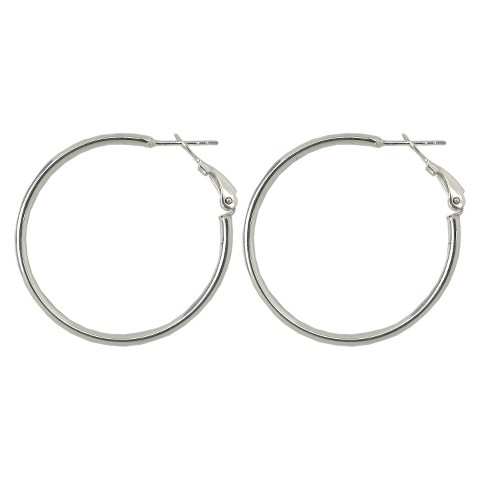 Sterling Silver Earrings, Clutchless 32-34mm - Silver