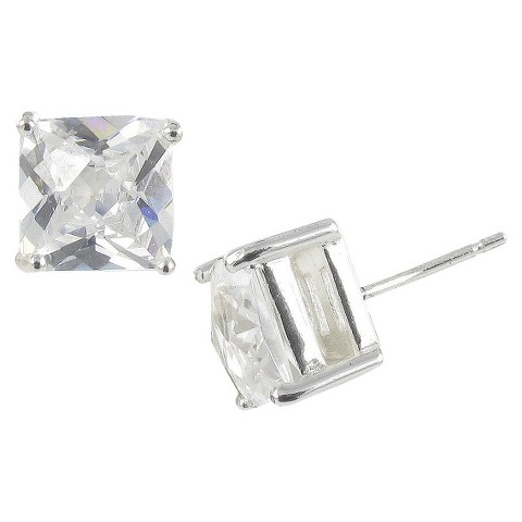 Sterling Silver Cubic Zirconia Princess Heavy Setting Earrings