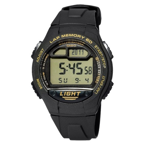 Casio Men's 60-Lap Runners Watch - Black (W734-9AV)