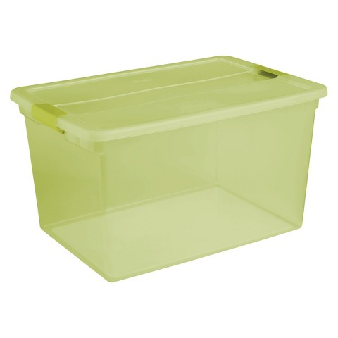 Sterilite® ClearView Latch™ 66 Qt./16.5 Gal. Storage Bin - Set of 6 - Kiwi Green