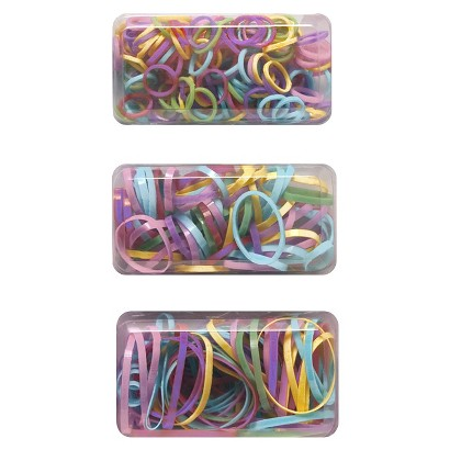 Gimme Basics Pastel Plastic Hair Elastics - Pink/Blue/Yellow/Green/Purple (275 Count)