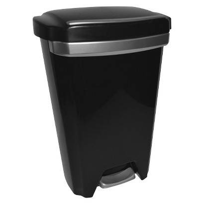 HEFTY 12.5 GAL. PREMIUM STEP-ON WASTE CAN - BLACK WITH STAINLESS ACCENTS