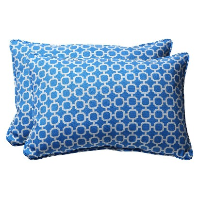 Outdoor 2-Piece Rectangular Toss Pillow Set - Blue/White Geometric 24""