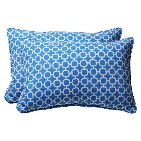 """Outdoor 2-Piece Rectangular Toss Pillow Set - Blue/White Geometric 24"""""""