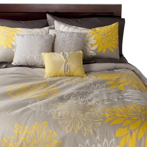 Anya 6 Piece Floral Print Duvet Cover Set - Gray/Yellow