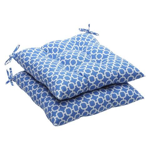Outdoor 2-Piece Tufted Chair Cushion Set - Blue/White Geometric