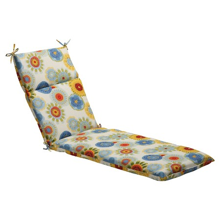 Outdoor chaise lounge cushion blue white yellow floral for Blue chaise lounge cushions