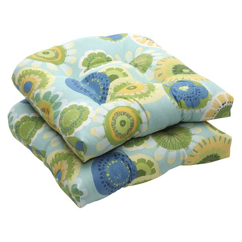 Outdoor 2-Piece Wicker Chair Cushion Set - Blue/Green Floral