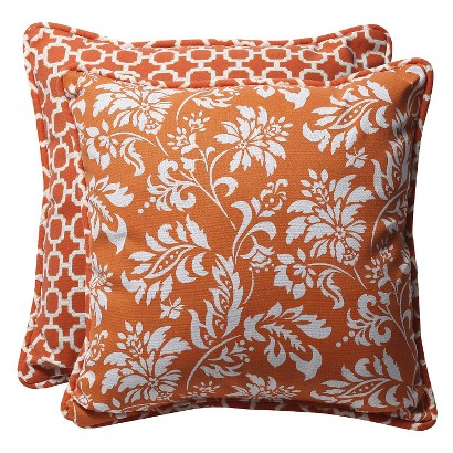 Outdoor 2-Piece Reversible Square Toss Pillow Set - Orange/White Geometric/Floral 18""