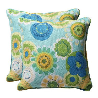 "Outdoor 2-Piece Square Toss Pillow Set - Blue/Green Floral 18"""