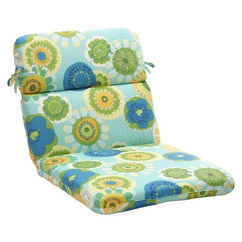 Outdoor Chair Cushion - Blue/Green Floral