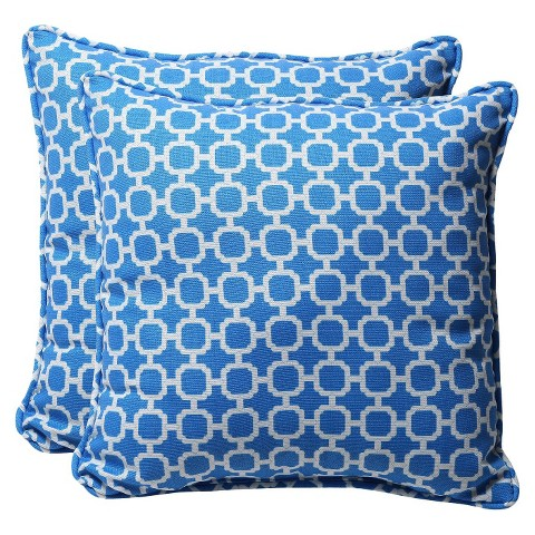 Outdoor 2-Piece Square Toss Pillow Set - Blue/White Geometric 18""