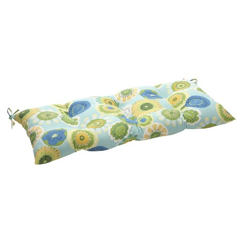Outdoor Tufted Bench/Loveseat/Swing Cushion - Blue/Green Floral