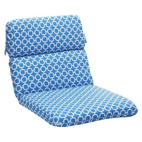 Outdoor Chair Cushion - Blue/White Geometric