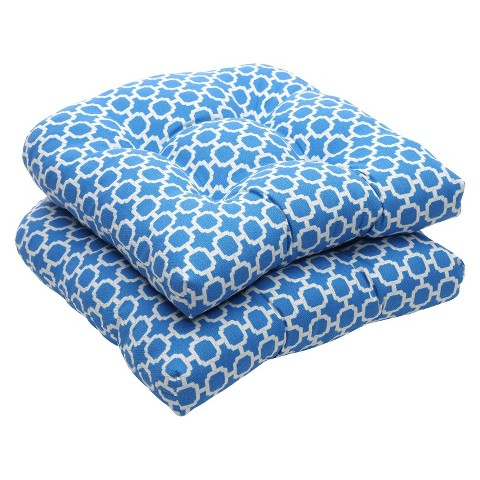 Outdoor 2-Piece Wicker Chair Cushion Set - Blue/White Geometric