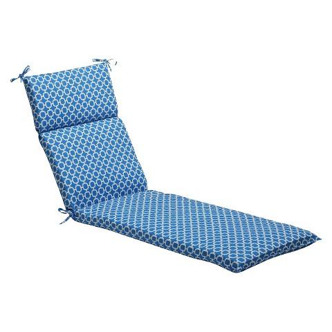 Outdoor Chaise Lounge Cushion - Blue/White Geometric