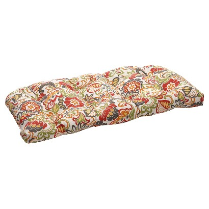 Outdoor Wicker Bench/Loveseat/Swing Cushion -  Green/Off-White/Red Floral