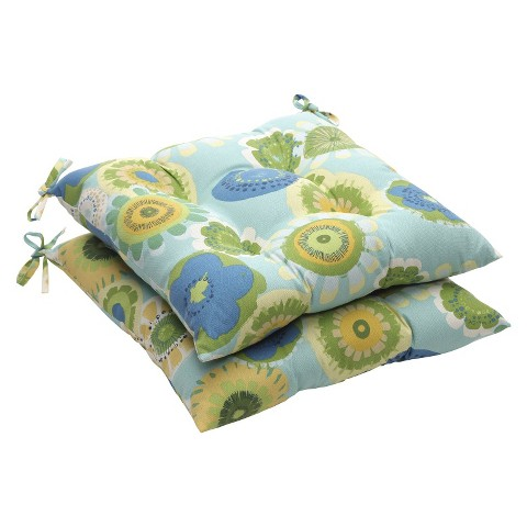 Outdoor 2-Piece Tufted Chair Cushion Set - Blue/Green Floral