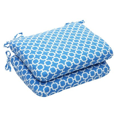 Outdoor 2-Piece Chair Cushion Set - Blue/White Geometric
