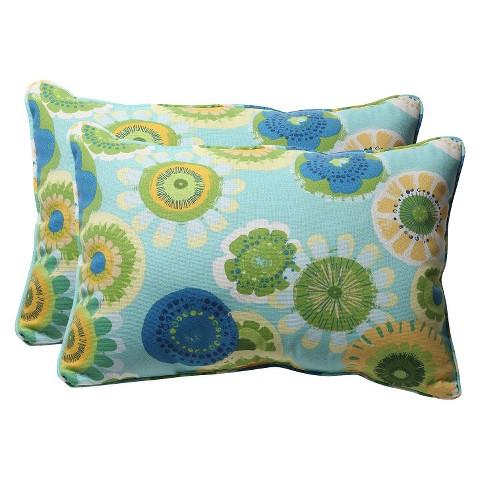 """Outdoor 2-Piece Lumbar Toss Pillow Set - Blue/Green Floral 24"""""""