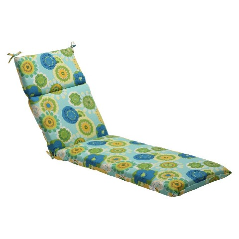 Outdoor Chaise Lounge Cushion - Blue/Green Floral