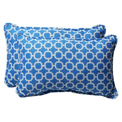 Outdoor 2-Piece Rectangular Toss Pillow Set - Blue/White Geometric 18""