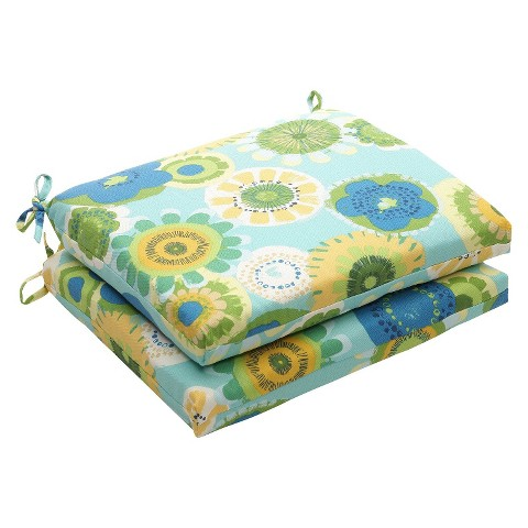 Outdoor 2-Piece Chair Cushion Set - Blue/Green Floral