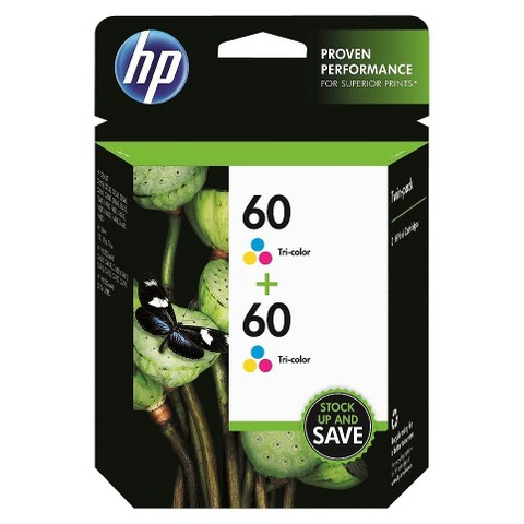 HP 60 Tri-Color Ink Cartridge Twin Pack - Multicolor (CZ072FN#140)