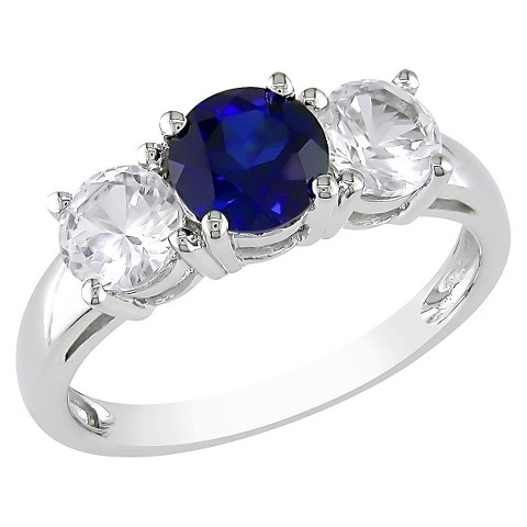 Created White and Blue Sapphire Ring