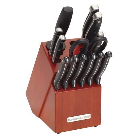 KitchenAid® 14 Piece Cherry Knife Block Set - Black