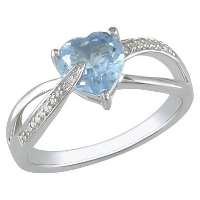 Diamond and Blue Topaz Heart Ring