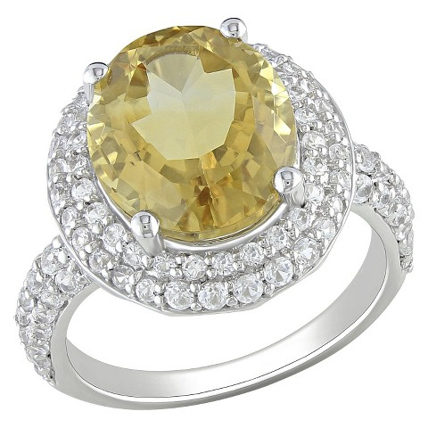Citrine and Created White Ring