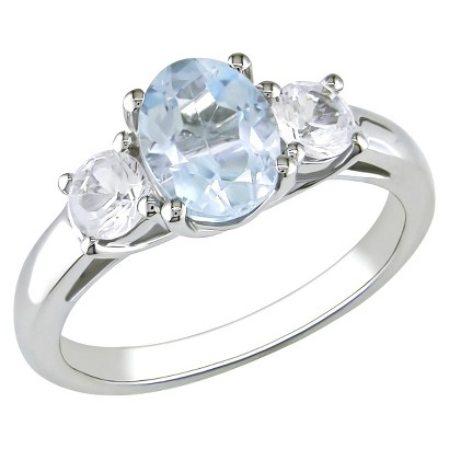 Blue Topaz/Created White Sapphire Ring