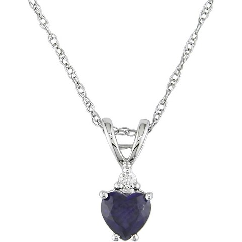 10K White Gold Diamond and Created Blue Sapphire Heart Pendant with Chain
