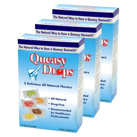Three Lollies Queasy Drops Dietary Supplement Lozenges - 12 Count (3 Pack)