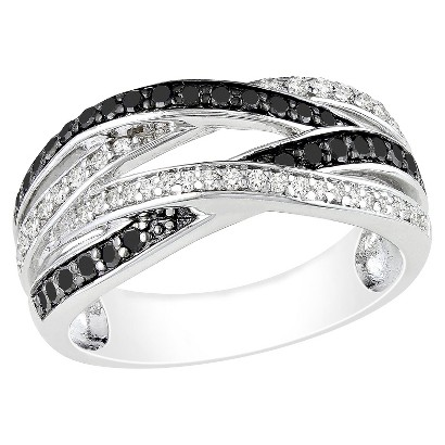 0.5 CT.T.W. Black and White Diamond Ring in Sterling Silver