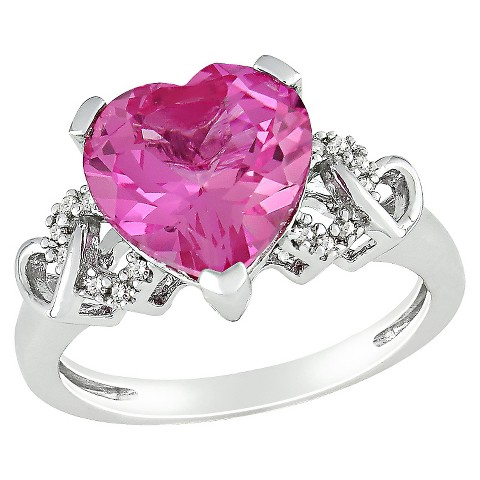 Diamond Created Pink Sapphire Heart Ring