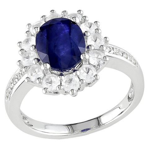 3.78 CT. T.W. Diffused Blue Sapphires, Created White Sapphire and Diamonds Ring in Sterling Silver