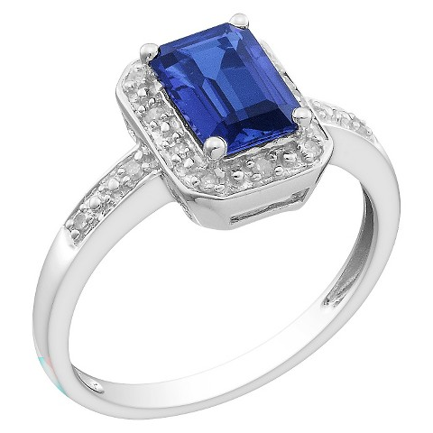 Diamond and Created Sapphire Ring