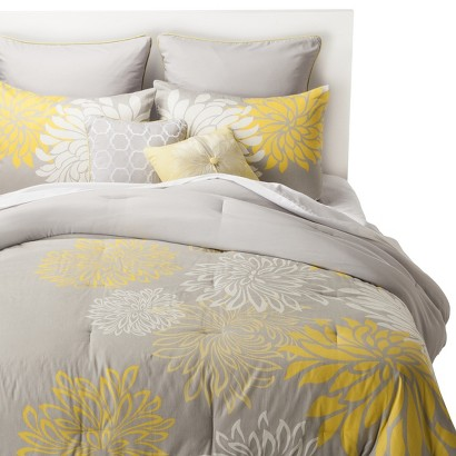 anya 8 piece floral print bedding set gray yellow target. Black Bedroom Furniture Sets. Home Design Ideas