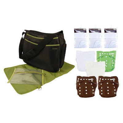 Trend Lab 19 Pc. Cloth Diaper Starter Pack - Green and Brown