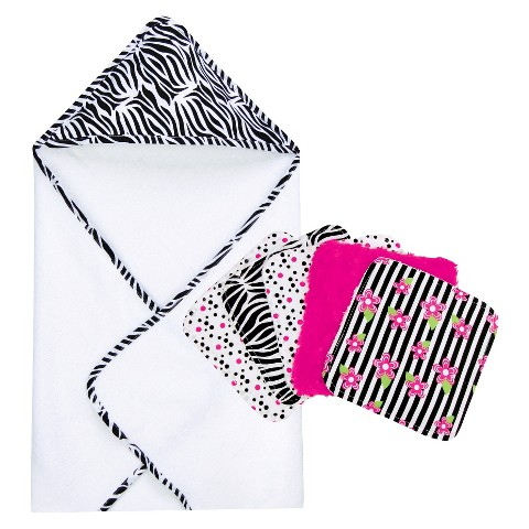 Trend Lab 6pc Hooded Towel and Wash Cloth Set - Zebra