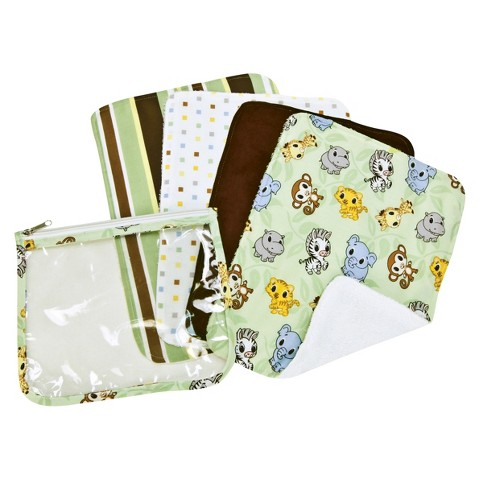 Trend Lab 5 Pc. Burp Cloths and Pouch Set -Chibi Zoo
