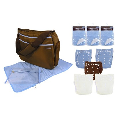 Trend Lab 19 Pc. Cloth Diaper Starter Pack - Blue and Brown
